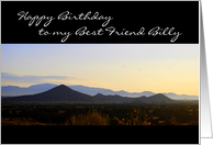 Best Friend Billy Happy Birthday Santa Fe Mountains Sunrise card