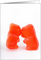 Kissing red gummy bears card