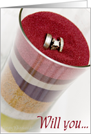 Will you...Unity Sand Ceremony Sponsor (Colored sand in jar, vert w/ring) card