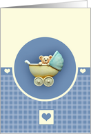 Baby Teddy Bear In Blue Pram card