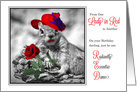 Funny Birthday for Ladies in Red Squirrel in a Hat card