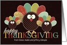 Thanksgiving Patchwork Turkey Family with Custom Name card