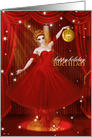 Birthday on Christmas Ballerina Dancer in Red and Gold card