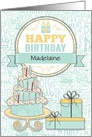 Birthday - Custom Name - Mint Green and Yellow card