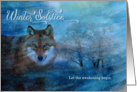 Winter Solstice - Blue Wolf in the Snow card