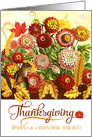 Thanksgiving Autumn Chrysanthemum Garden with Fall Leaves card