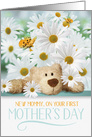1st Mother's Day for the New Mommy with Daisies and Bear card