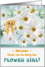 Custom Flower Girl Thank You with White Daisies card