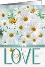 Custom Love and Romance White Daisy Garden with Butterflies card