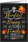 Thanksgiving the Blessings of Family Chalkboard and Autumn Leaves card