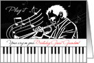 Great Grandson's Birthday Music Theme Piano Keys and Jazz Musician card