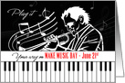 Make Music Day June 21st Piano Keys and Jazz Musician card