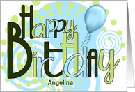 Custom Happy Birthday Funky Blues and Greens card