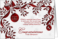 Christmas Wedding Congratulations Newlyweds - Red & White card