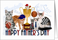 Happy Father's Day for Cat Lover Sports Theme card