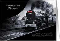 Custom Railroad Retirement Congratulations - Train in Black and White card