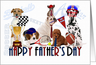 Sports Themed Dogs for Father's Day card