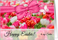 for Sister on Easter Pink Tulip Garden card