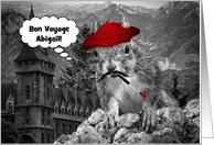 Custom Bon Voyage! Funny French Artist Squirrel card