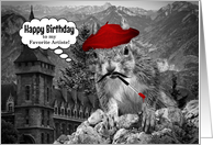 for an Artist on their Birthday Funny French Squirrel Painter card