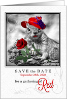 Save the Date for a Red Hatter Party Funny Squirrel card