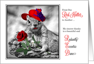Thank You from one Red Hatter to Another Funny Squirrel card