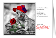 Good Luck to a Red Hatter Funny Squirrel card