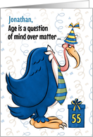 Custom 55th Birthday Humorous Blue Buzzard card