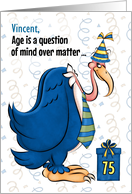 Custom 75th Birthday Humorous Blue Buzzard card