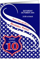 Custom Age 10 Birthday Party Invitation - Law Enforcement Theme card
