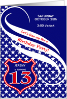 Custom Age 13 Birthday Party Invitation - Law Enforcement Theme card