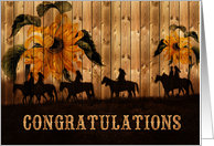 Congratulations Award Winner Western Sunflowers and Horses card
