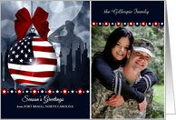 Patriotic Christmas Photo Card - American Soldier and Skyline card