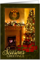 from Our House Season's Greetings Fireplace & Christmas Tree card