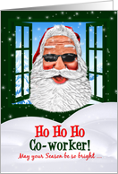 for Co-worker Christmas Cool Santa in Sunglasses card