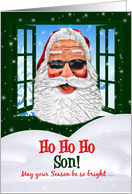for Son Christmas Cool Santa in Sunglasses card