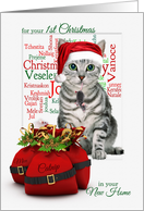 1st Christmas in Your New Home Tabby Cat and Mouse card