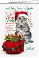 Custom from Our House to Yours Christmas Tabby Cat and Mouse card
