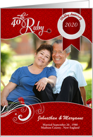 40th Ruby Wedding Anniversary Photo Party Invitation card