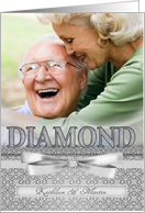 Custom 60th Diamond Wedding Anniversary Photo Invitation card