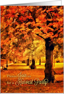 Autumn in the Park Party Invitation Digital Oil Painting card