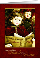 Vintage Christmas Carolers in Rich Reds and Gold Hues card