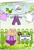 It's a Girl Custom Baby Announcement in Green and Purple card