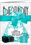 16th Birthday for Her Trendy 'Bling' - Turquoise Black card