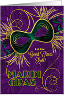 Mardi Gras Invitation - Violet - Gold and Green Mask card