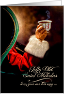 Across the Miles Vintage Santa Relaxing with a Hot Beverage card