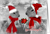 for Girlfriend on Christmas | Squirrels in Love card