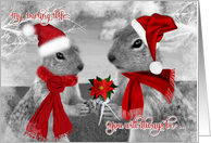 for Wife on Christmas | Squirrels in Love | Santa Hats card