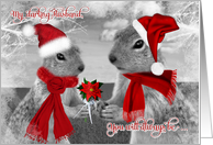 for Husband on Christmas | Squirrels in Love | Santa Hats card