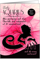 Custom Birthday Card for Lady Aquarius in Pink and Black card